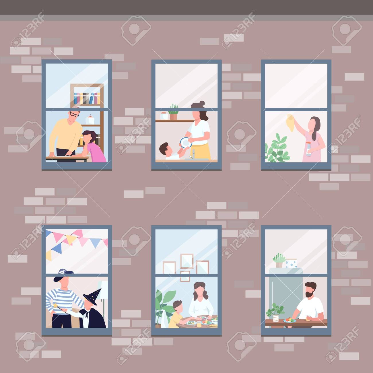 People in different apartments windows flat color vector illustration. Morning routine. Man eat breakfast. Woman clean up. Self isolated relatives 2D cartoon characters with interior on background - 146282605