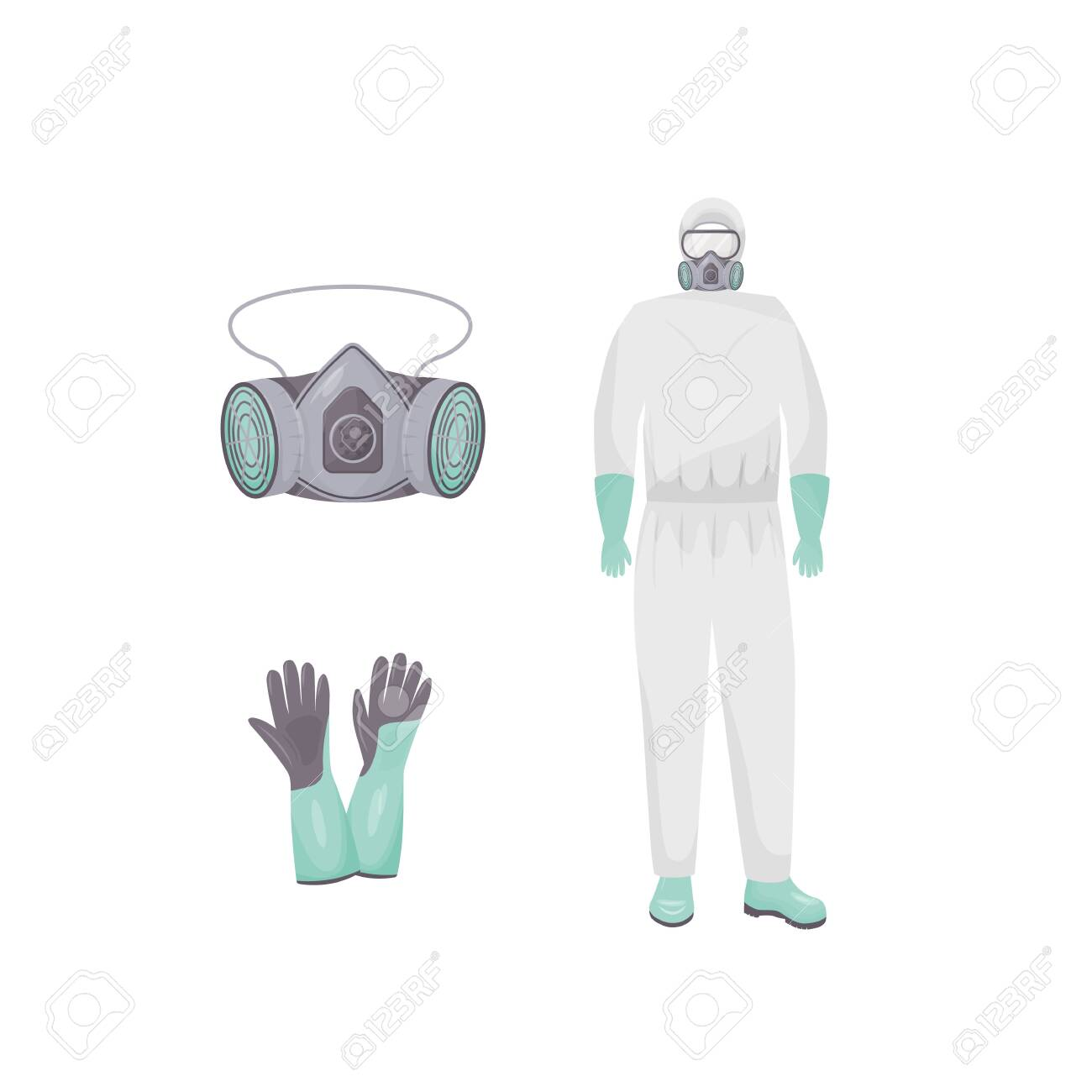 Protective suit and accessories flat color vector objects set. Personal protective equipment. Hazmat clothes, air purifying respirator and gloves 2D isolated cartoon illustrations on white background - 146233354