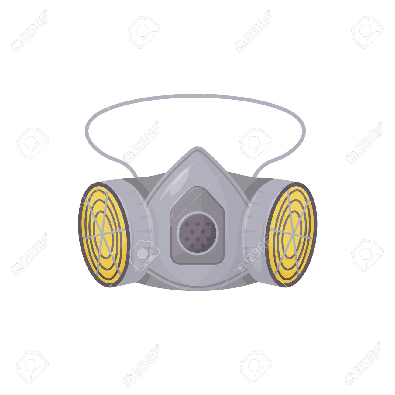 Powered air-purifying respirator cartoon vector illustration. Personal protective equipment, breathing wear flat color object. Air filtration accessory isolated on white background - 146674973