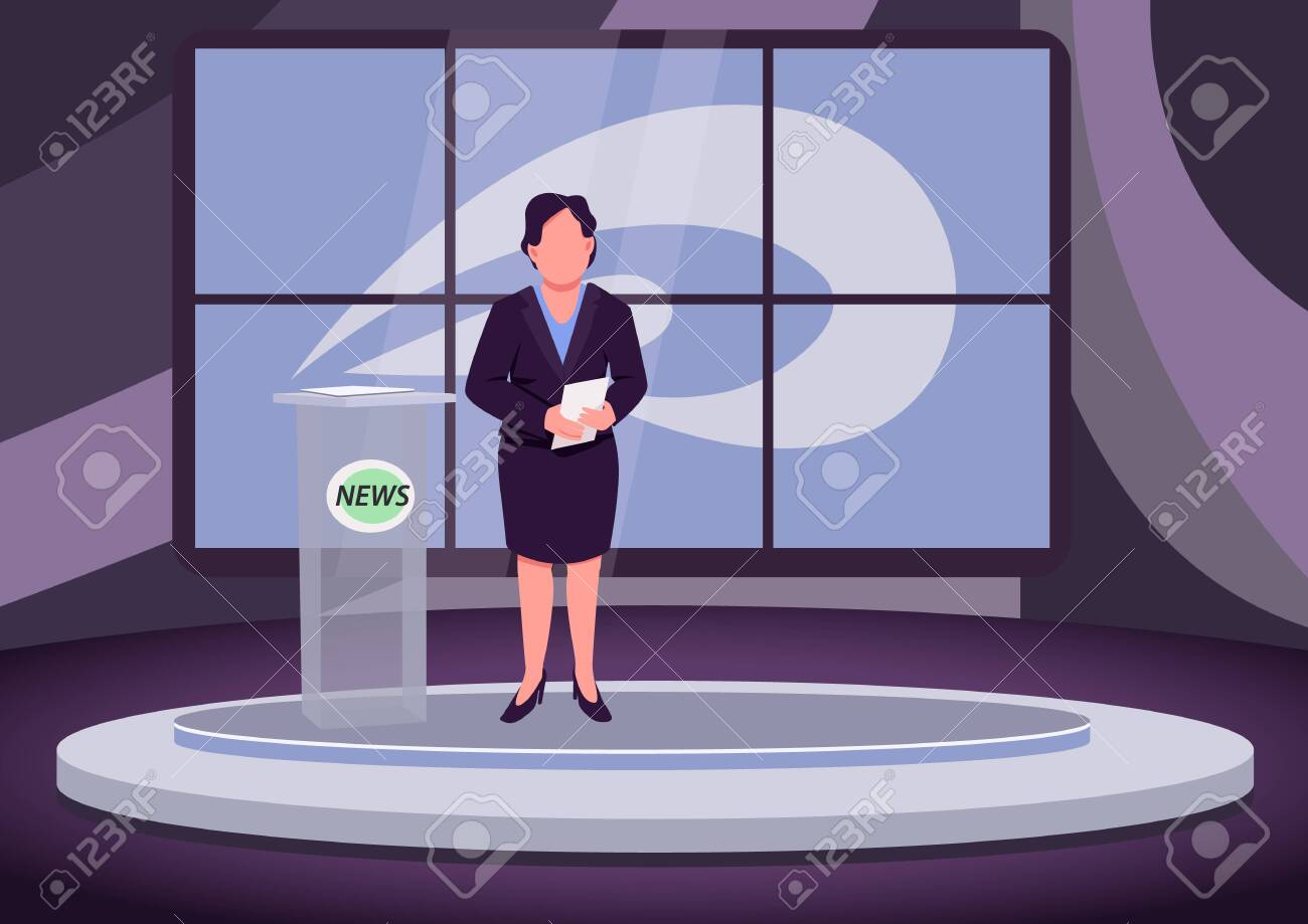 News analysis flat color vector illustration. Female newscaster, expert, professional anchorwoman 2D cartoon character with studio on background. Analytical television program, studio report - 148421601