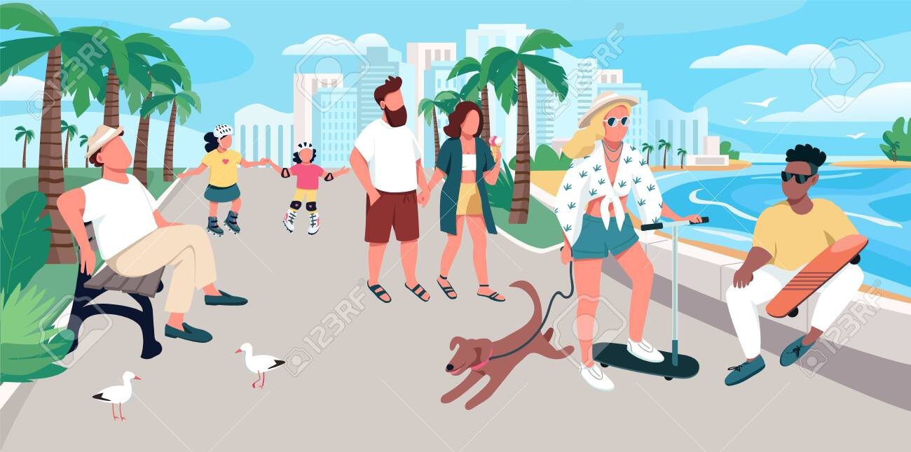 People walking on resort town street flat color vector illustration. Summer recreation. Tourists activity. Holidaymakers at promenade 2D cartoon characters with waterfront on background - 148784189
