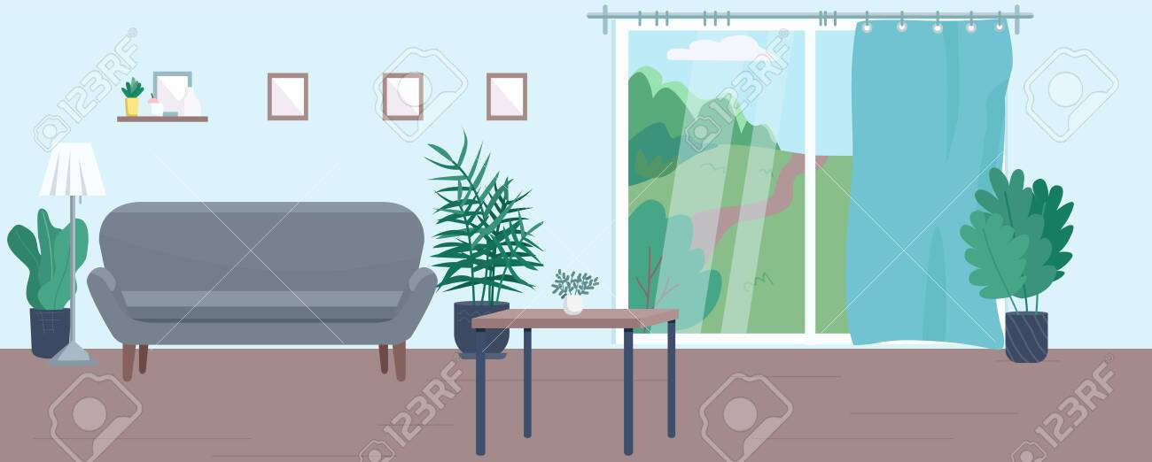 Empty Living Room Flat Color Vector Illustration Contemporary Royalty Free Cliparts Vectors And Stock Illustration Image 153206983