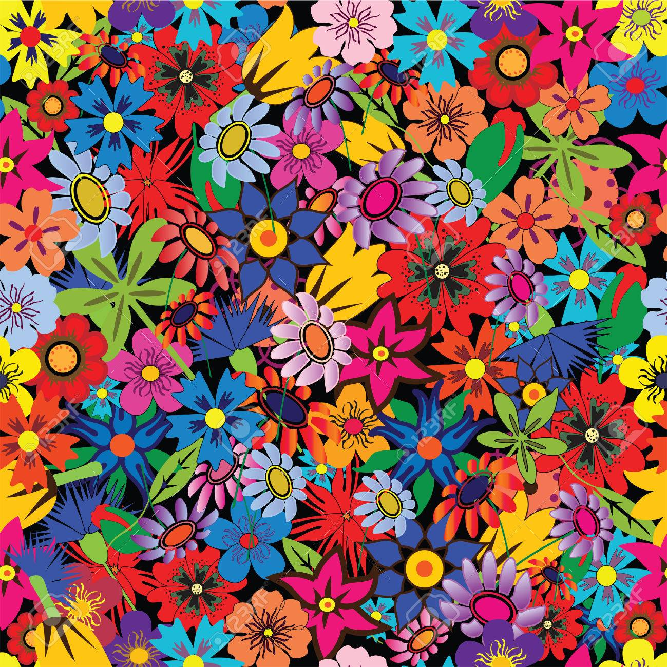 Seamless colorful floral background. Repeat many times Stock Vector - 5148536