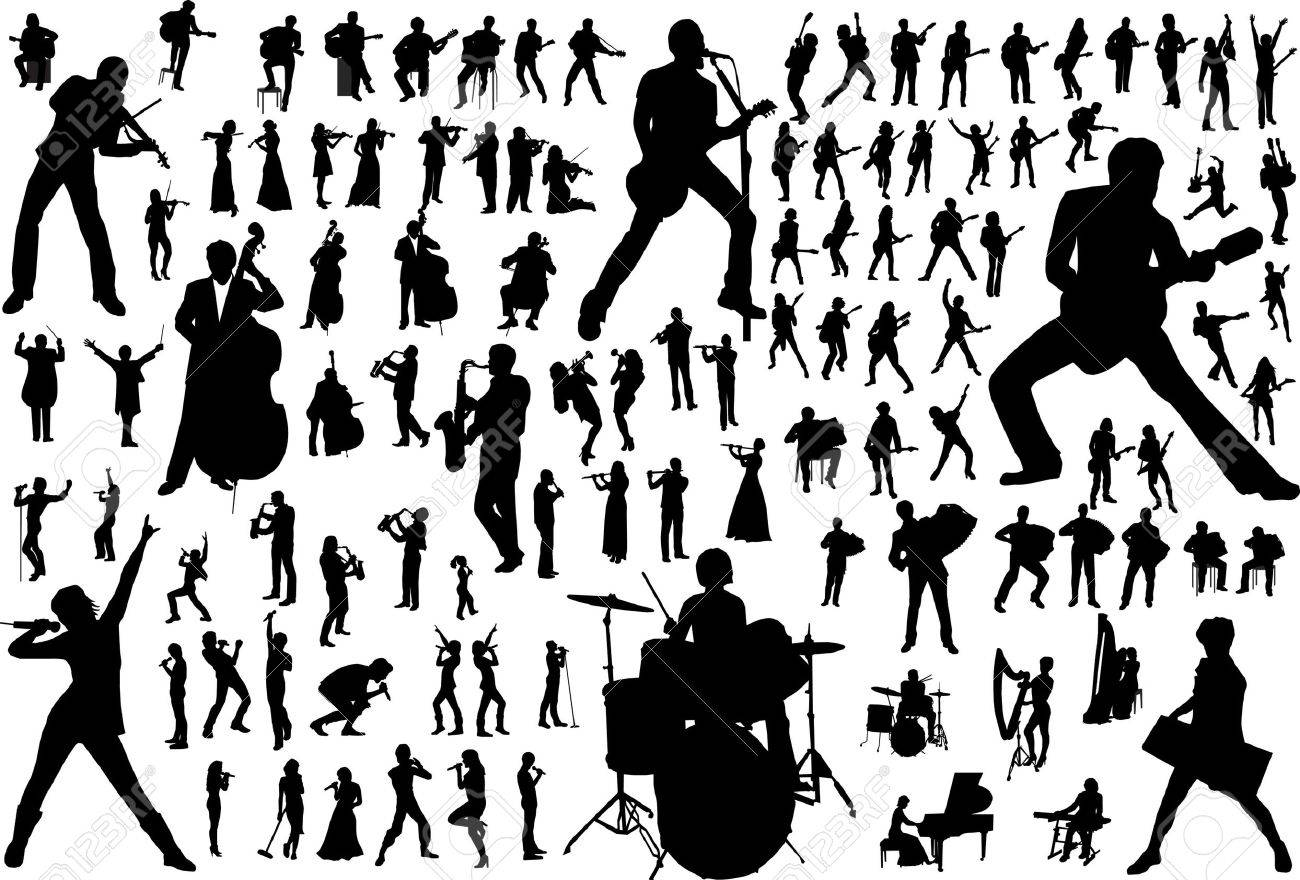 Black silhouettes of musicians. Vector illustration Stock Vector - 9354134