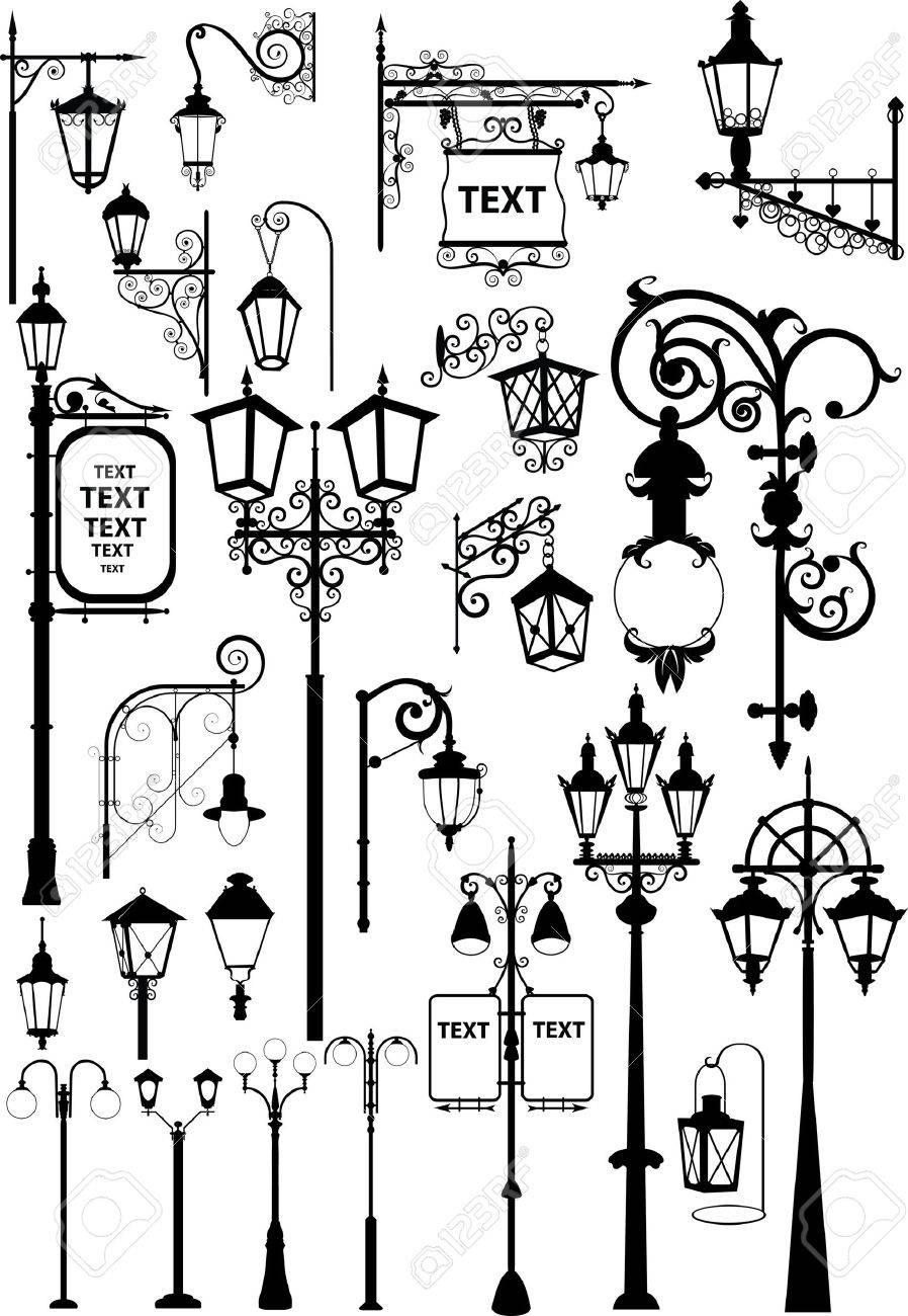 レトロとモダンな通りのランタンのベクトル イラストのイラスト素材