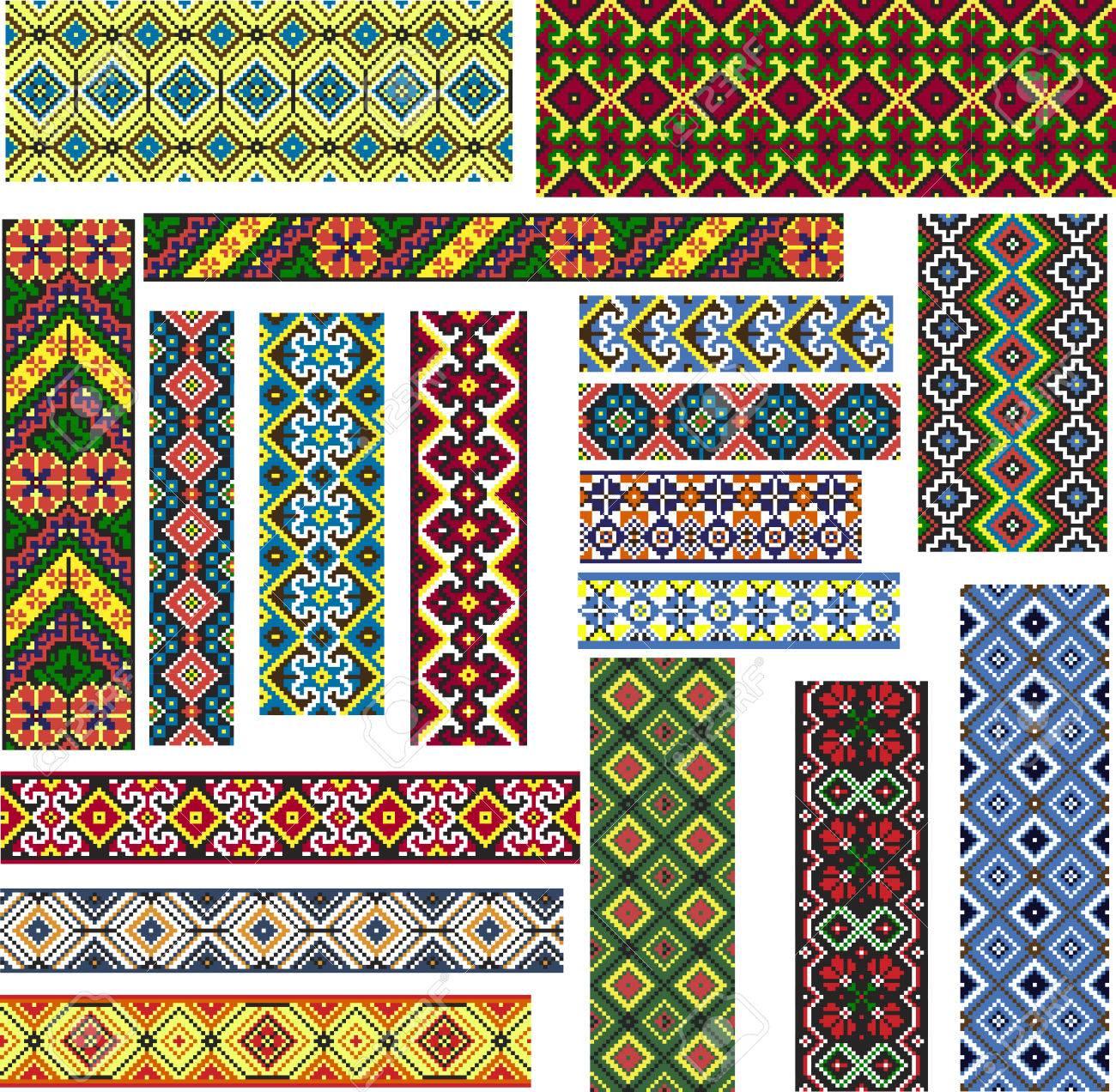 Conjunto De Patrones De Colores Editables Sin Fisuras Geométricas ...