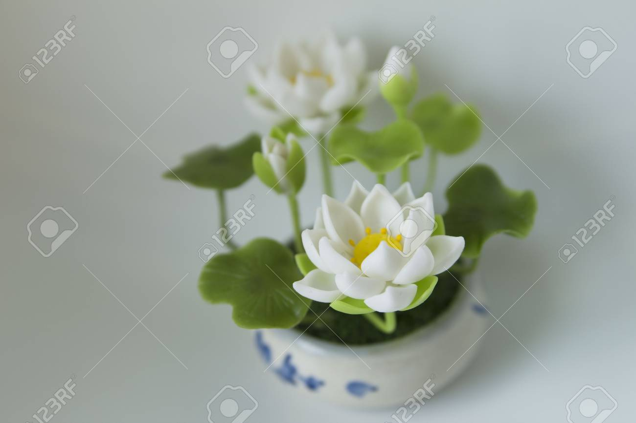 Clay Lotus Hand Made In Thailand Asia Artificial Flowers Stock