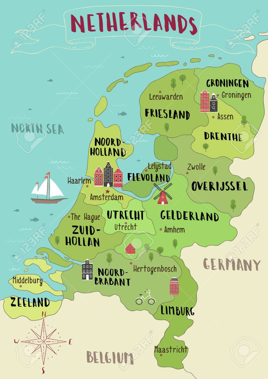 Illustrated Map Of Netherlands Royalty Free Cliparts, Vectors, And ...