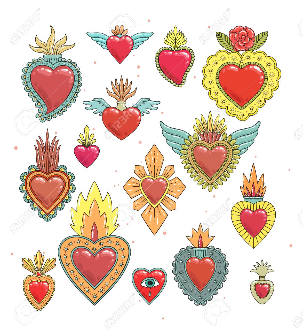 Sacred mexican heart color set - 93336353