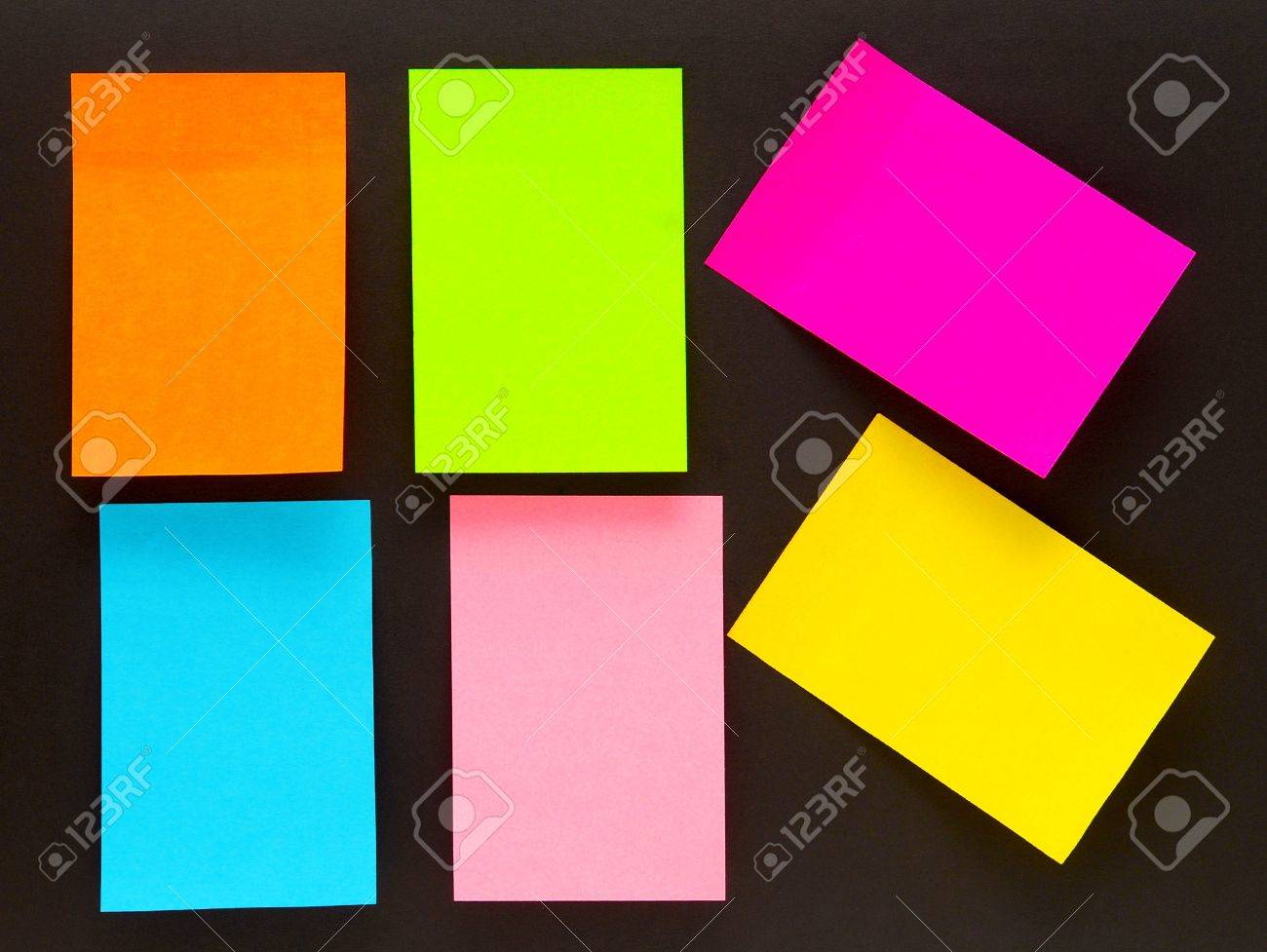 an empty color sticky notes on black stock photo picture and