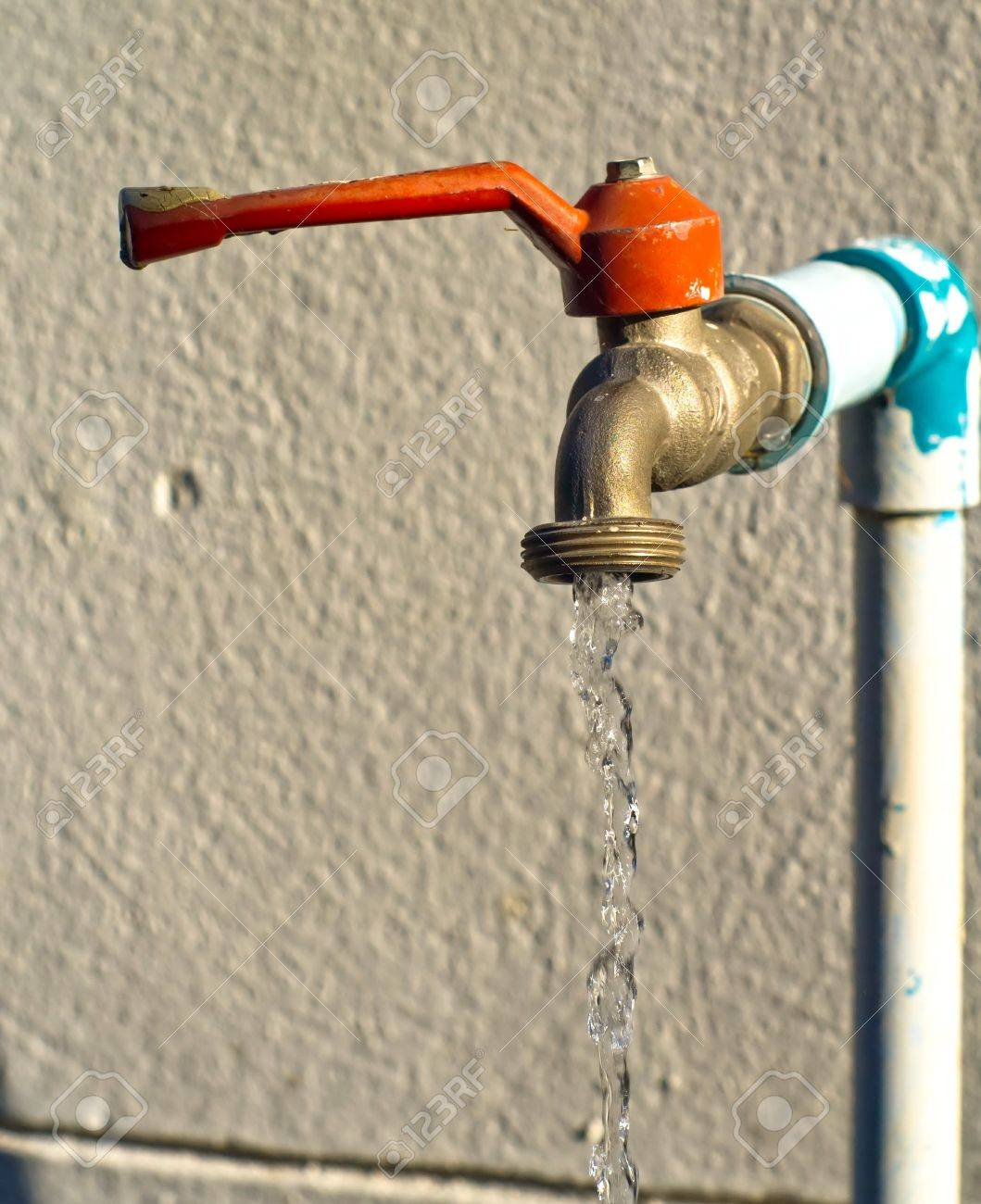 Close Up Old Water Faucet Left Open Stock Photo, Picture And Royalty ...