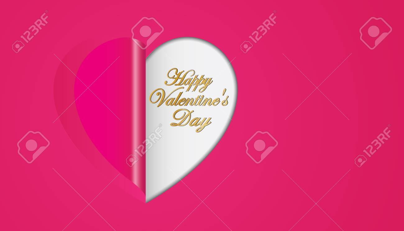 pink paper hearts folding valentines day greeting card royalty free