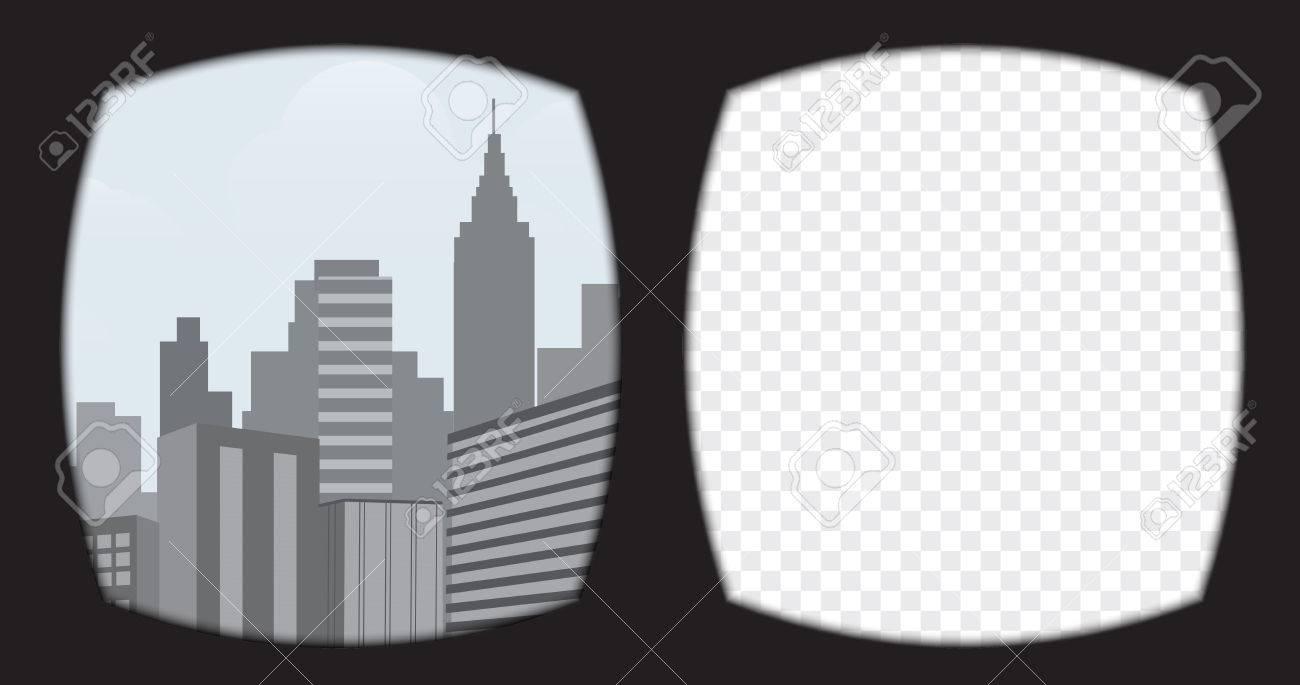 Foto de archivo , Virtual de gafas de realidad superpuesta sobre el fondo  transparente. Vista desde el casco de realidad virtual incluye plantilla  escena