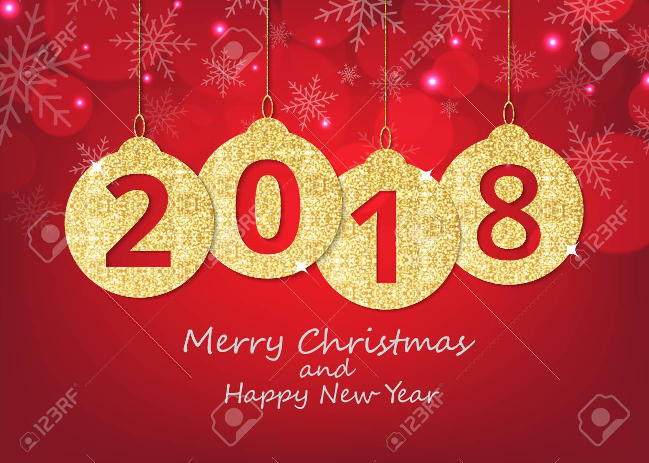 Merry christmas and happy new year hanging 2018 number glitter merry christmas and happy new year hanging 2018 number glitter balls on shiny red background m4hsunfo