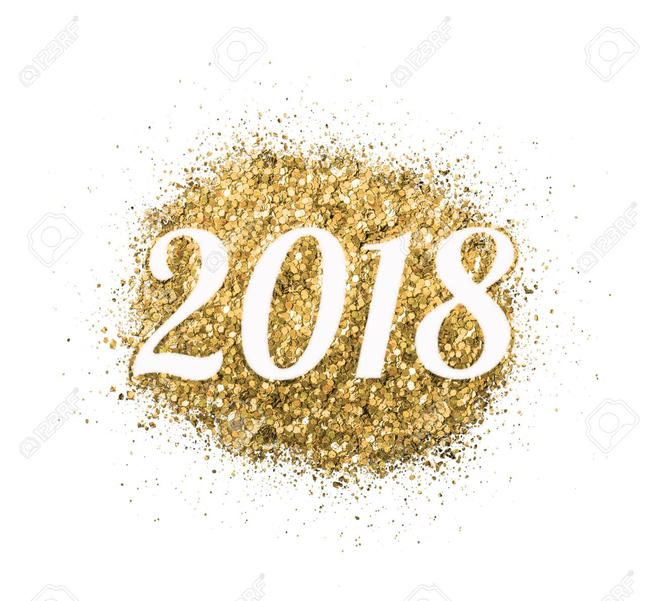 2018 of gold glitter on white background symbol of new year for your greeting card
