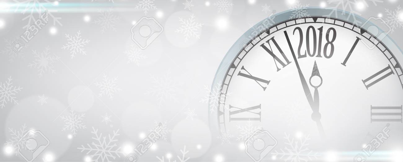 vector vector 2018 happy new year with retro clock on gray snowflakes background for your copy space