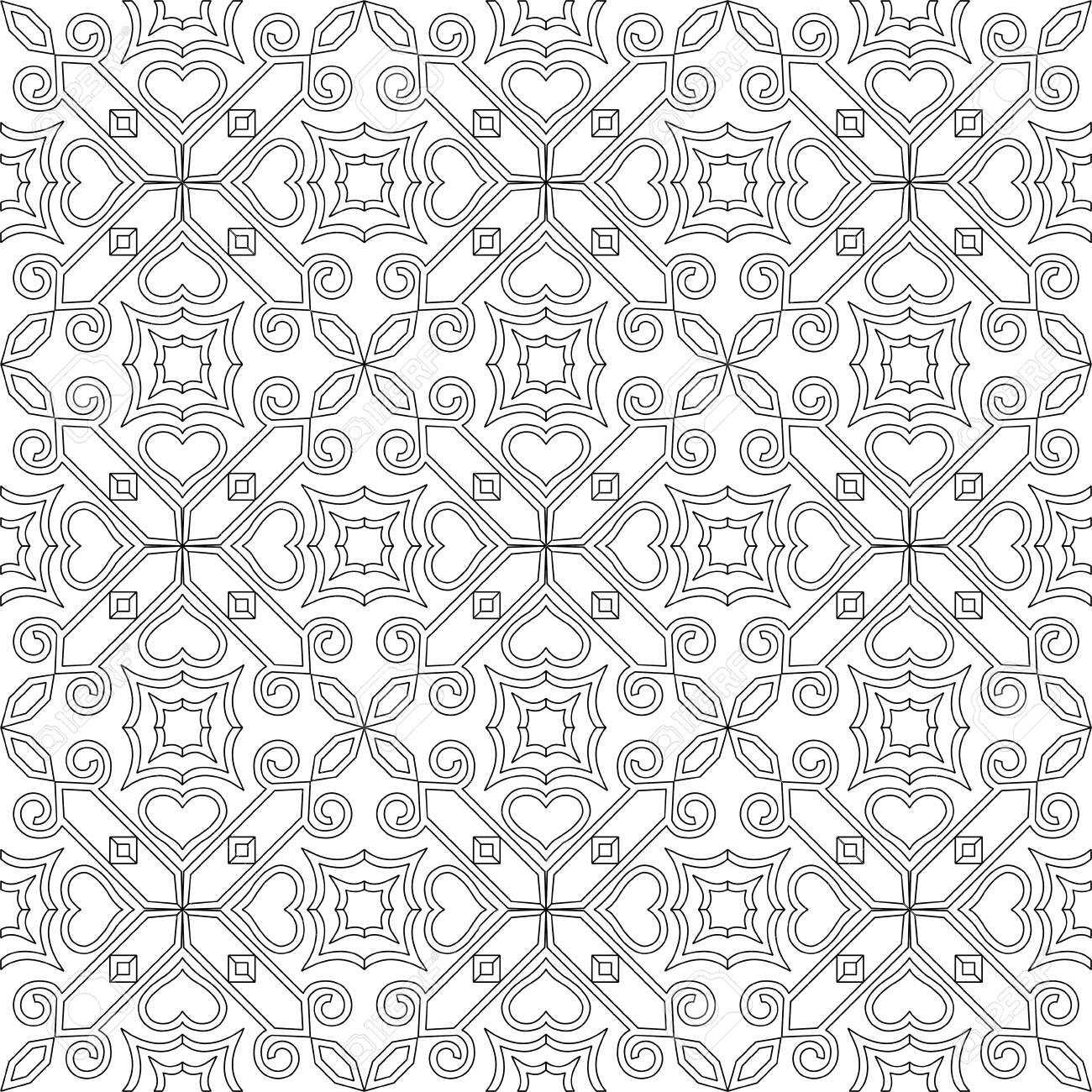 Black And White Seamless Pattern Background. For Coloring Pages ...