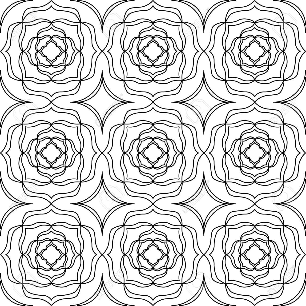 Schwarz-Weiß-Vektor Nahtlose Muster Hintergrund. Für Malvorlagen ...