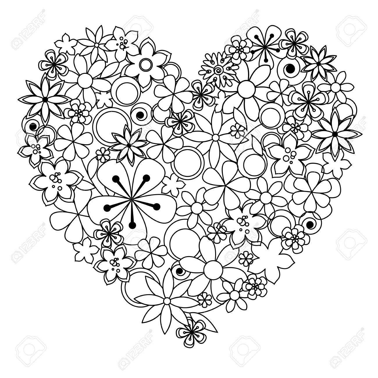 Vector Corazón Decorativo De Color Negro Con Un Flores Blancas De ...