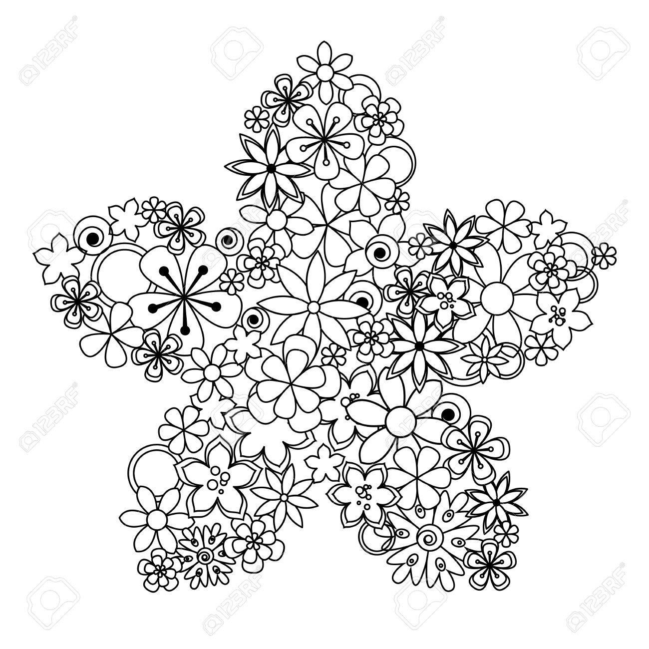 Ilustración De La Flor Decorativa De Color Negro Con Un Flores ...