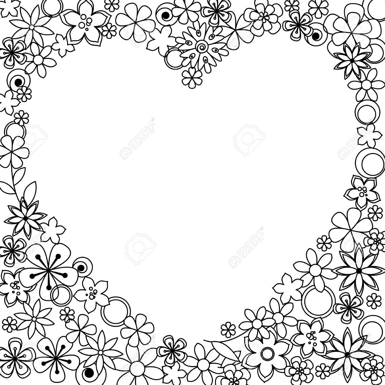 Coloriage Cadre Fleur.Vecteur Decoratif Cadre En Noir Une Fleurs Blanches Pour Les Pages