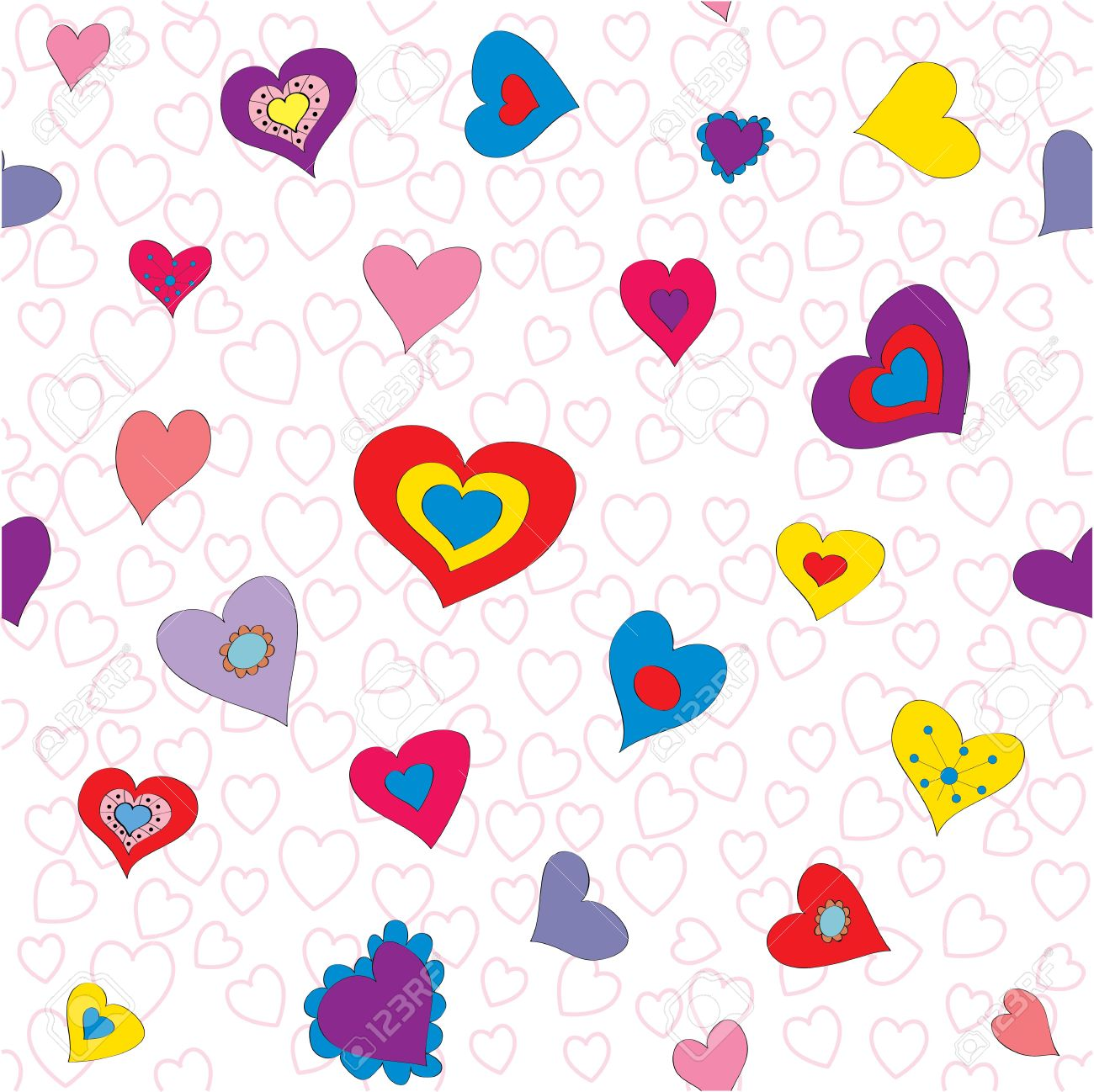 Vector Seamless Pattern Background With Bright Hearts For Wallpaper