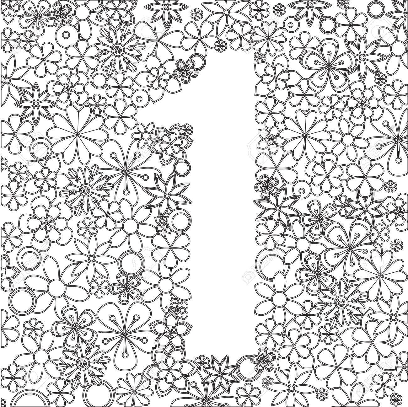 Vector De Número Uno Hecho De Flores Blancas Y Negras. Para Libros ...