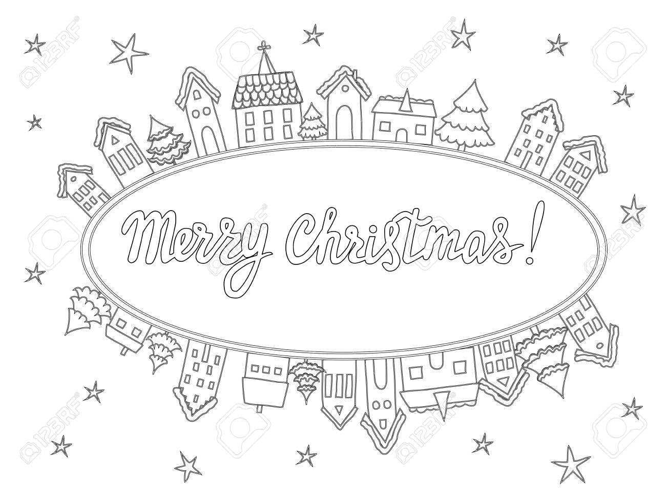 - Template For Coloring Pages, Christmas Cards, Invitations