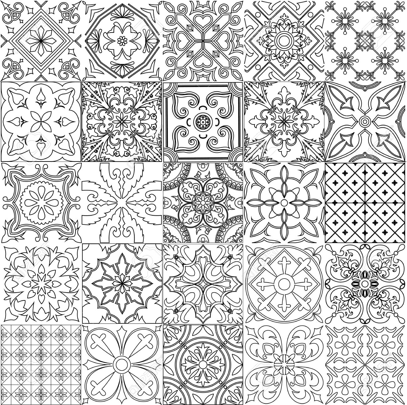 big set of tiles background in black and white for coloring rh 123rf com talavera tile coloring pages moroccan tile coloring page