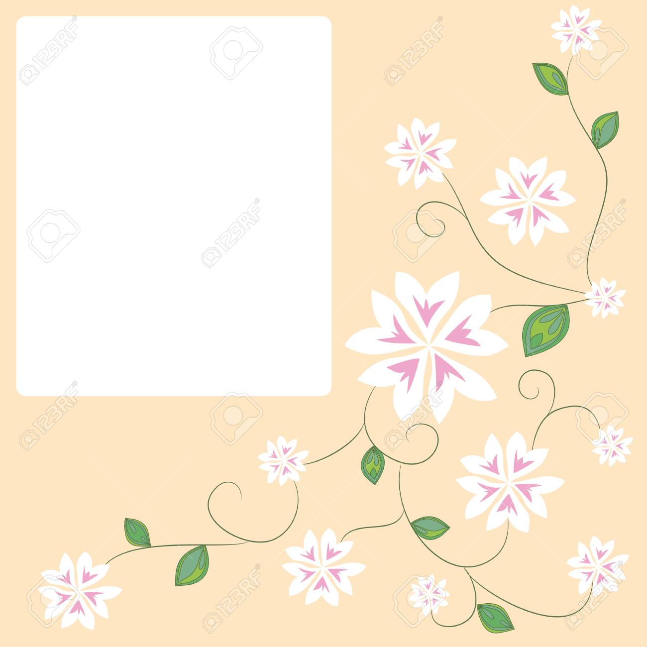 Spring Greeting Card Template With Space For Text Hand Drawn