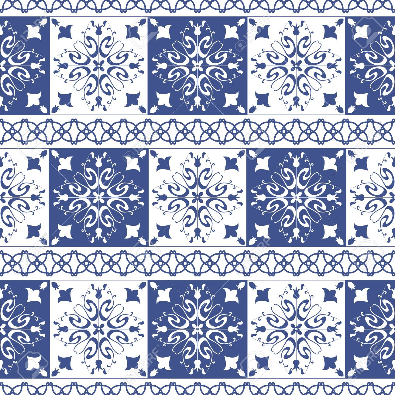 Vector   Vector Seamless Tiles Background In Portuguese Style. Blue And  White Mosaic Border. Tiles For Ceramic In Dutch, Portuguese, Spanish,  Italian Style.