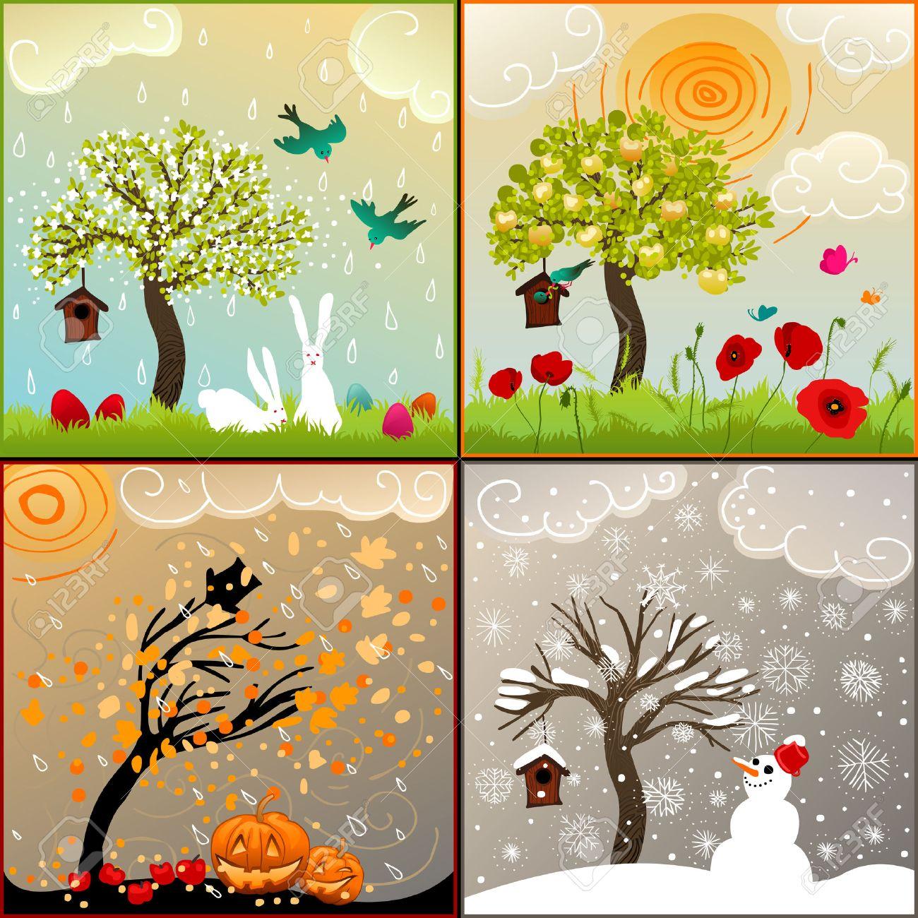 """Résultat de recherche d'images pour """"les 4 saisons arbres"""""""