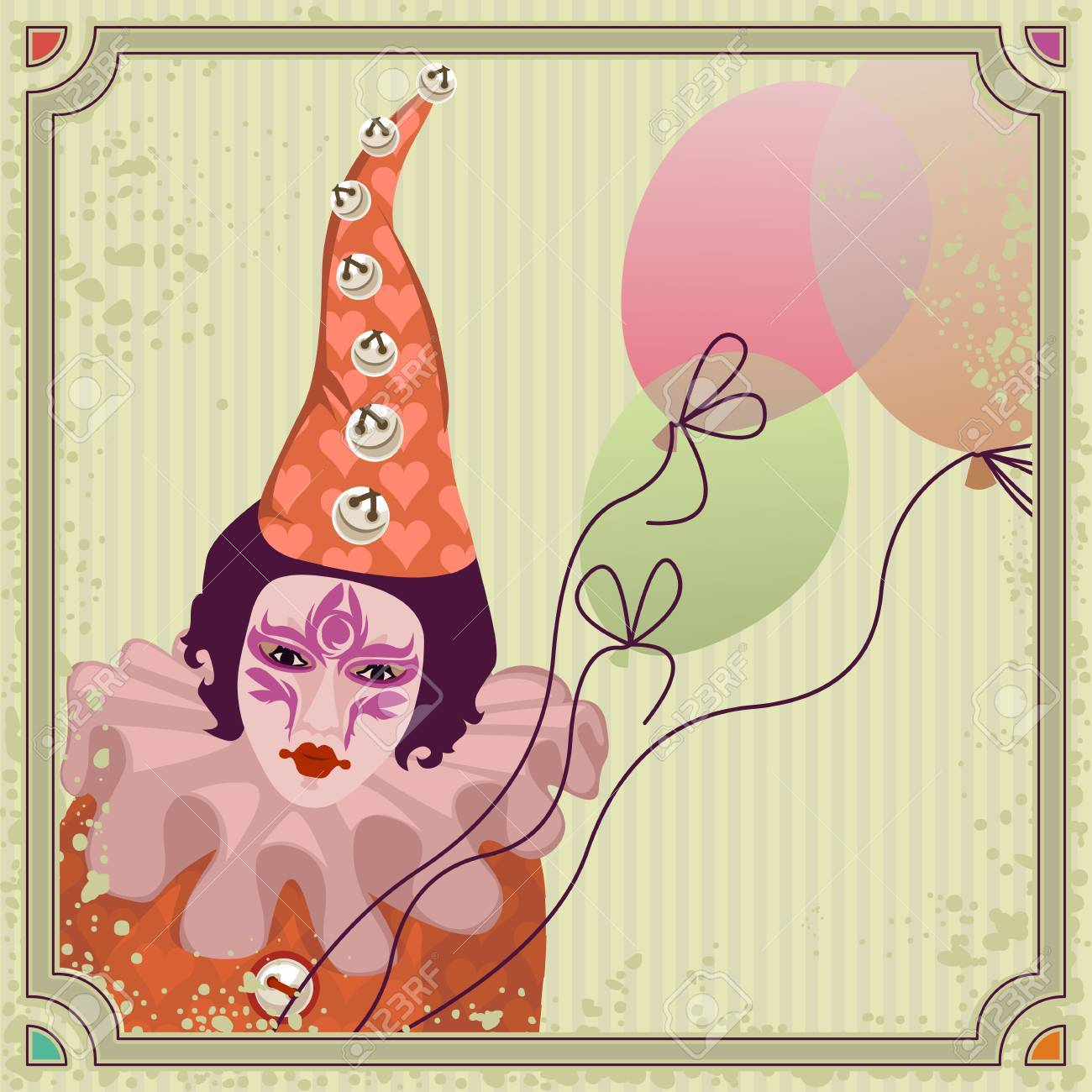 Carnival clown in colorful costume with balloons - 38995137