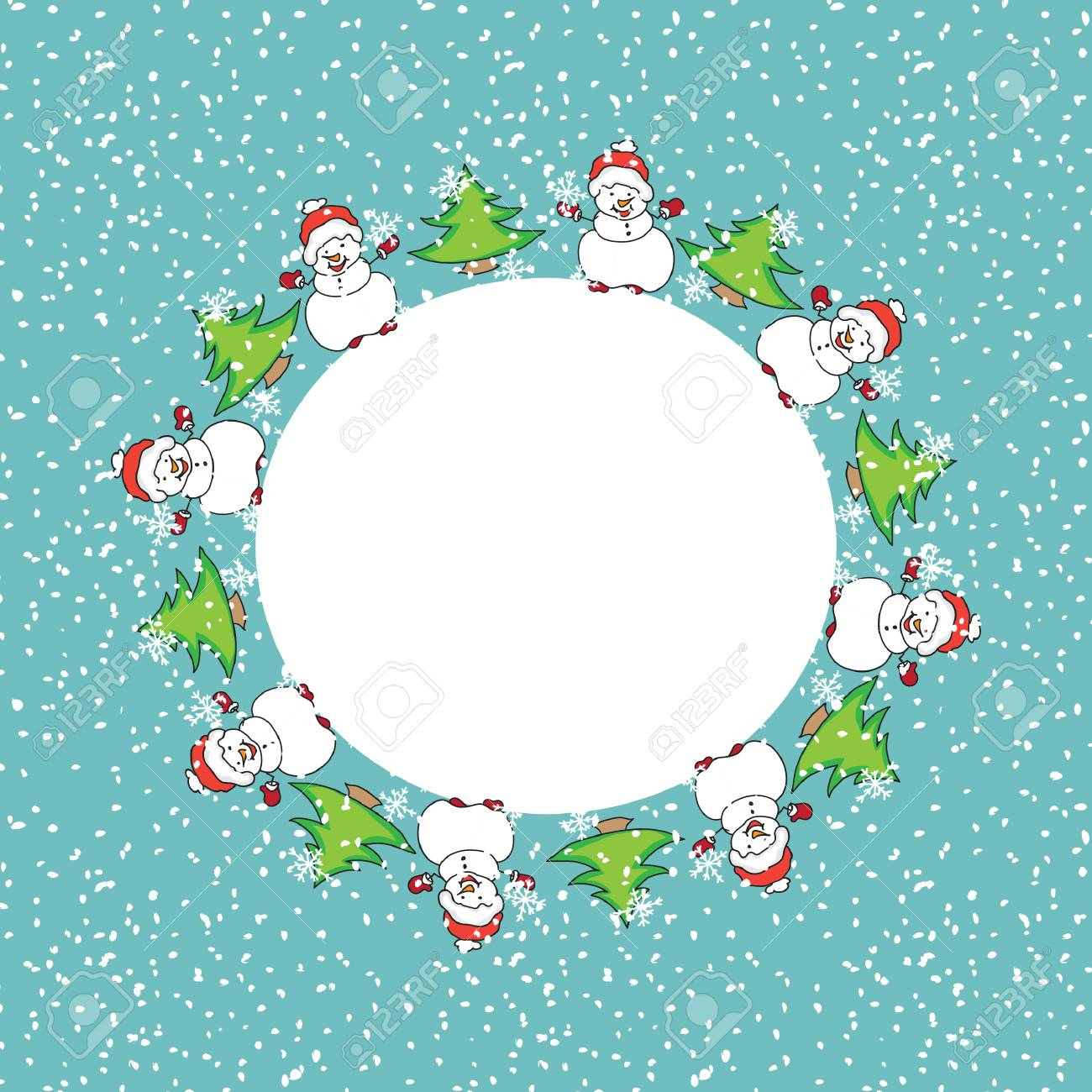 Snowman Christmas Card Template Royalty Free Cliparts, Vectors, And ...