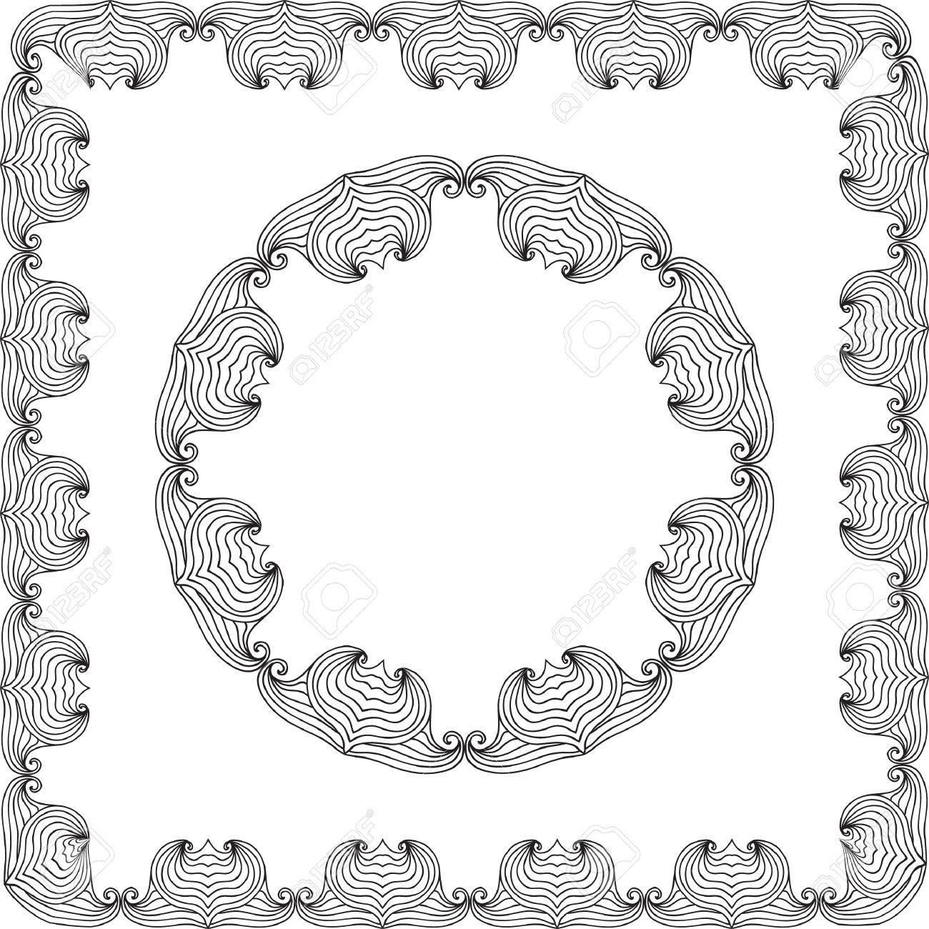 Página Para Colorear Mandala Marco Oval Aislado En Blanco ...