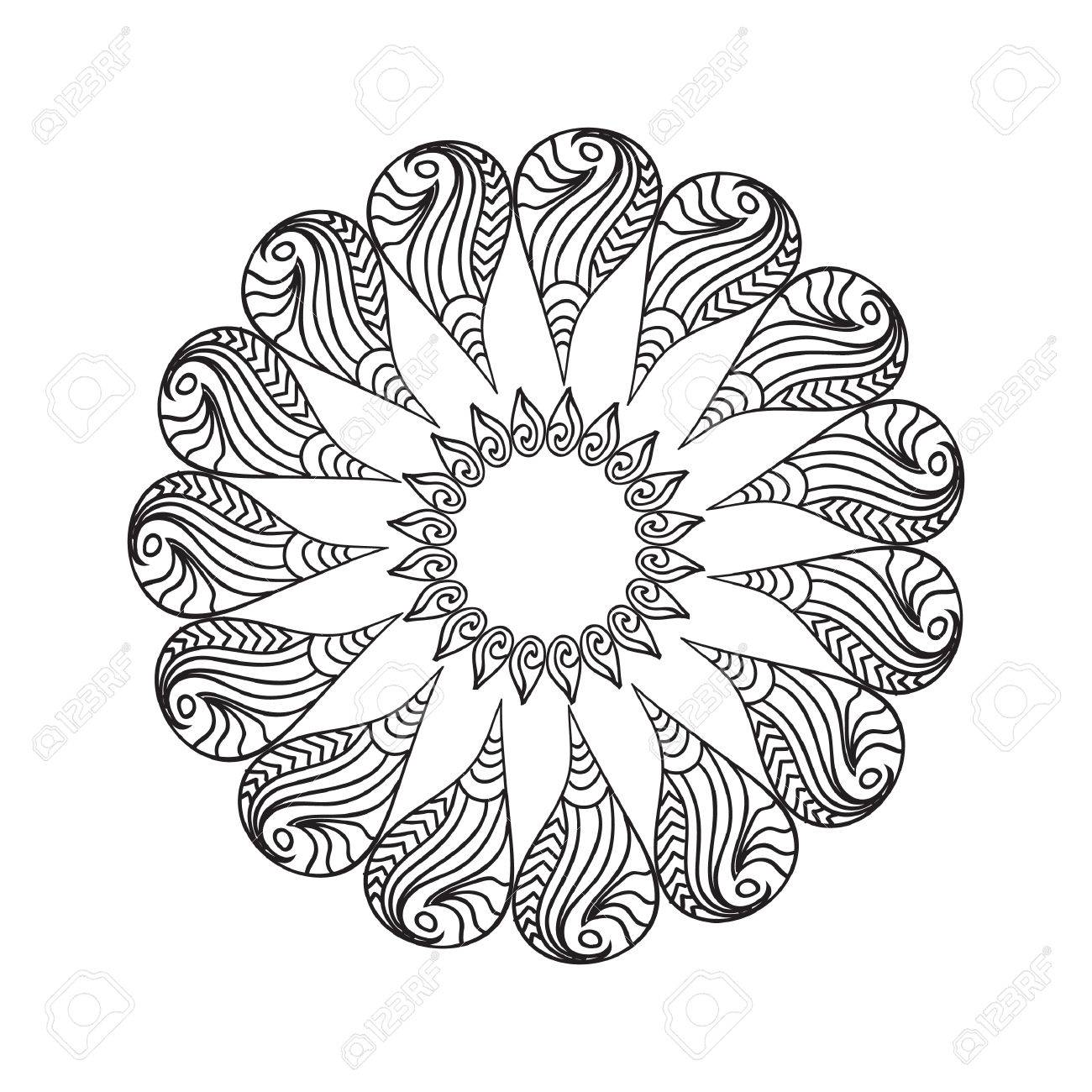 Oval Frame Mandala Coloring Page Isolated On White Stock Vector