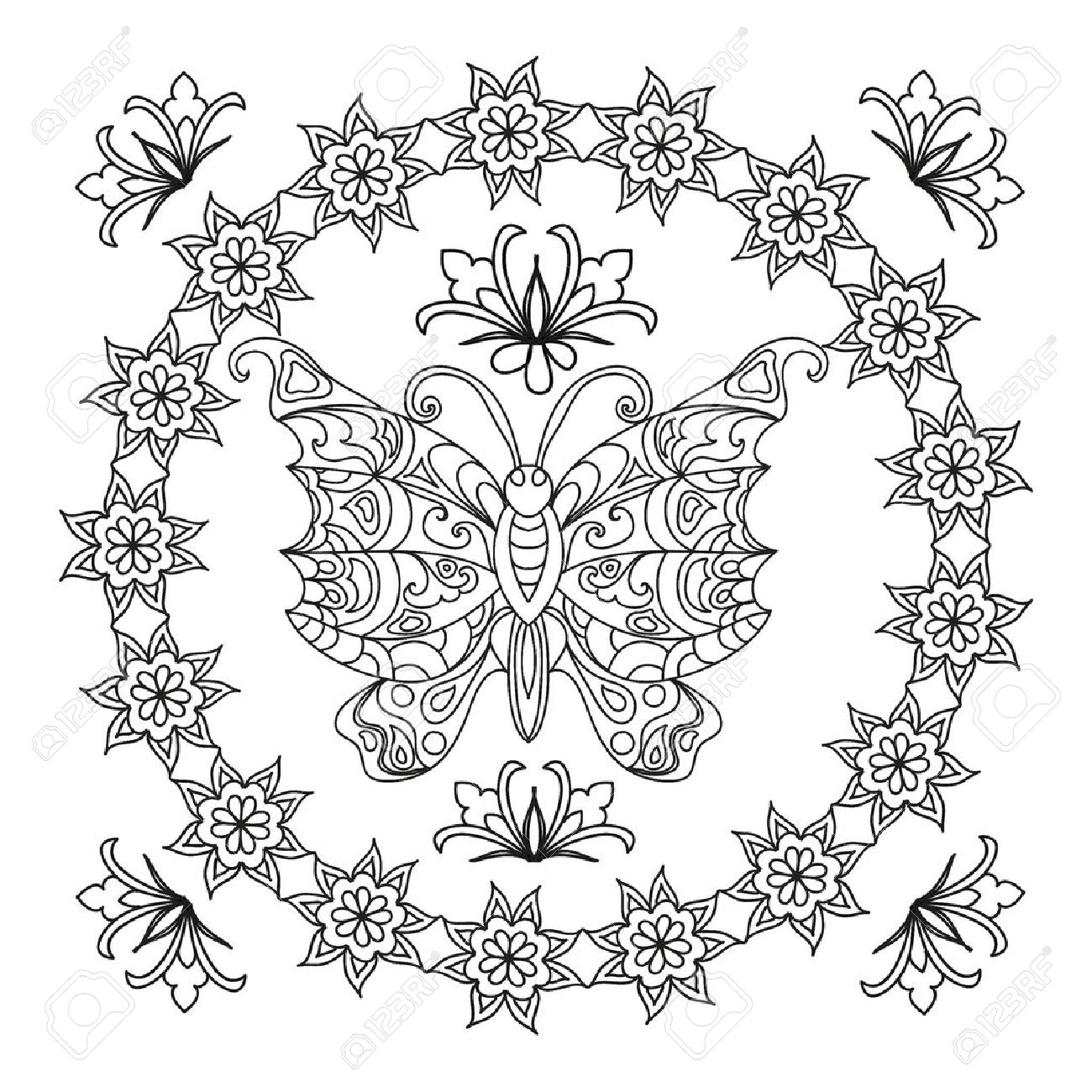 coloring pages butterfly abstract mandala zentangle - Royalty Free Coloring Pages