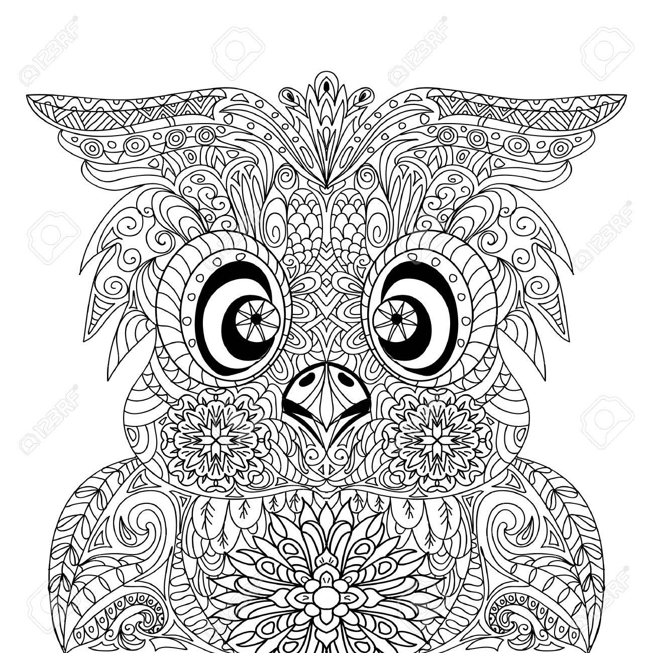 Owl Portrait Mandala Zentangle Royalty Free Cliparts Vectors And