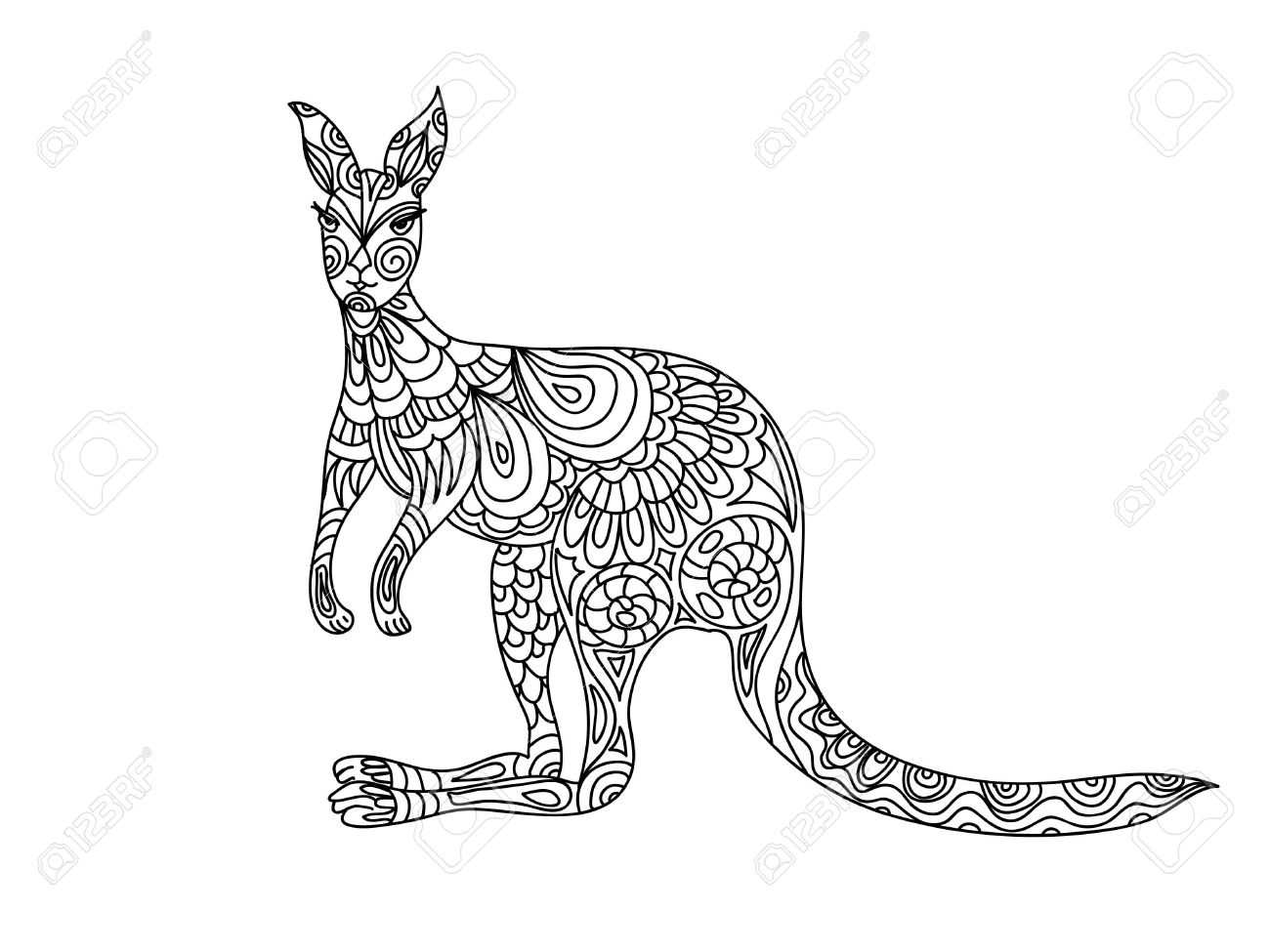 Free coloring pages kangaroo - Kangaroo Coloring Page Stock Vector 47010459