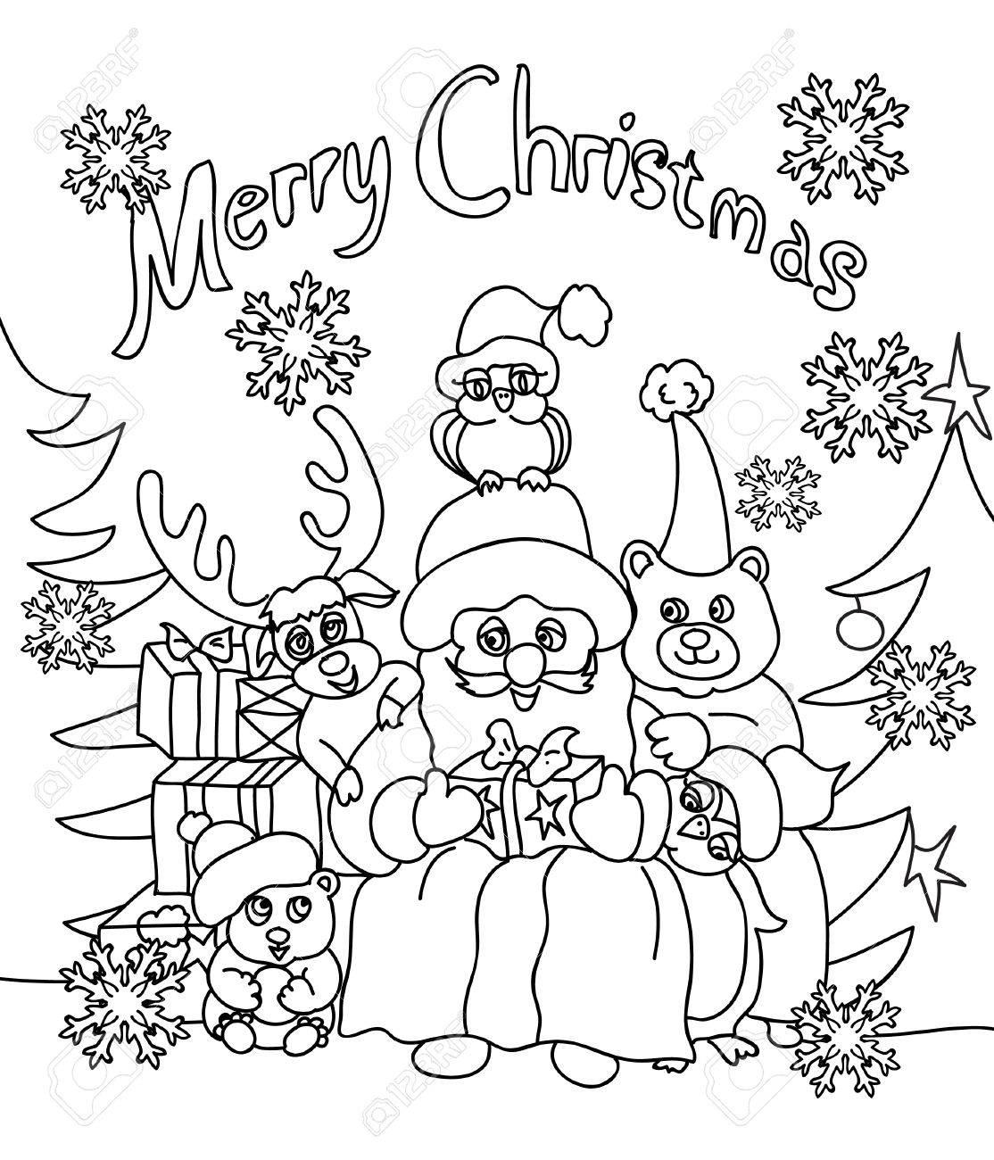 クリスマスぬりえグリーティング カード の写真素材画像素材 Image
