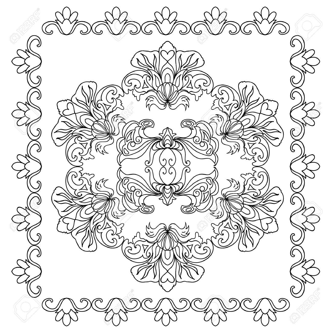 Decorative Floral Mandala Coloring Page Stock Vector