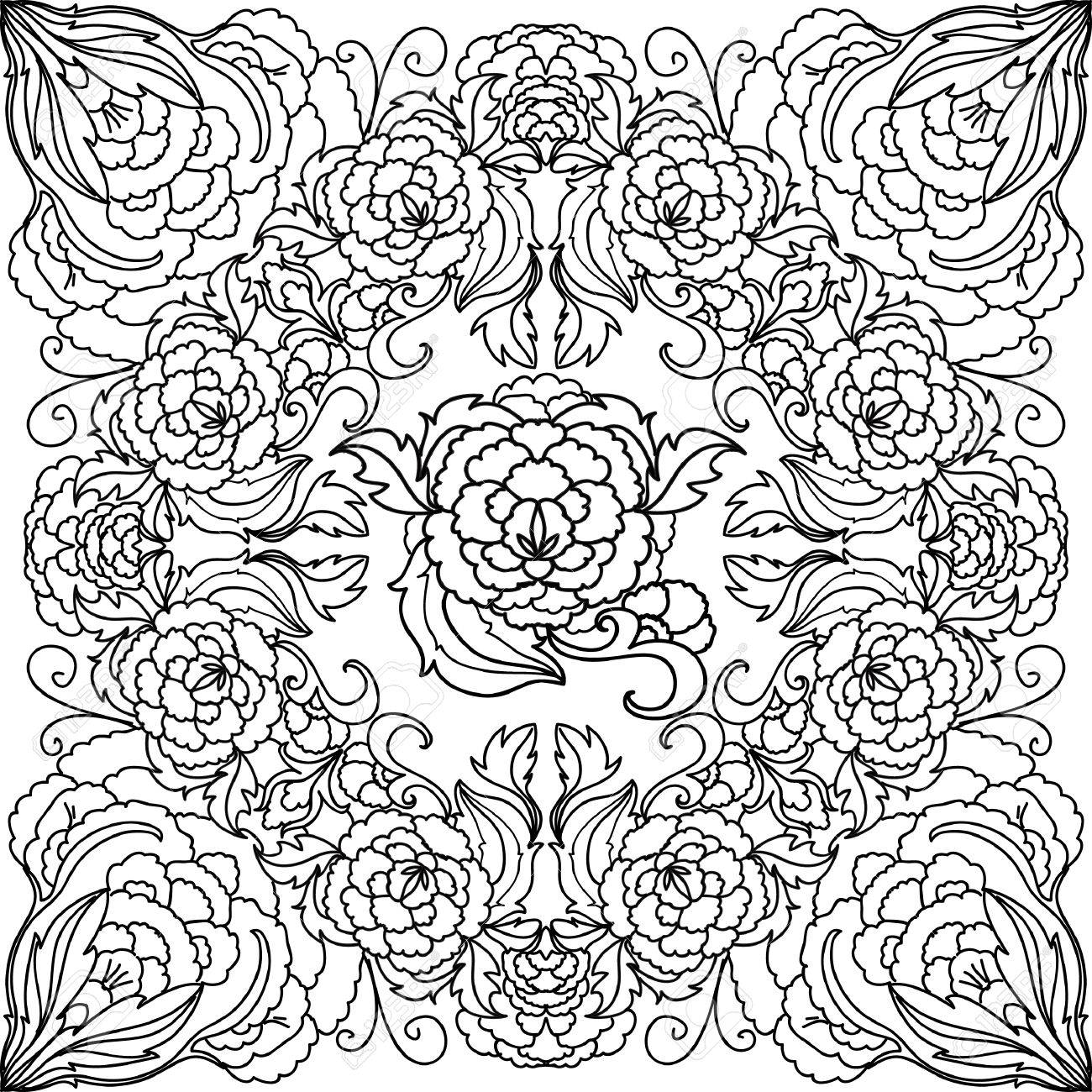 peony seamless coloring page royalty free cliparts vectors and