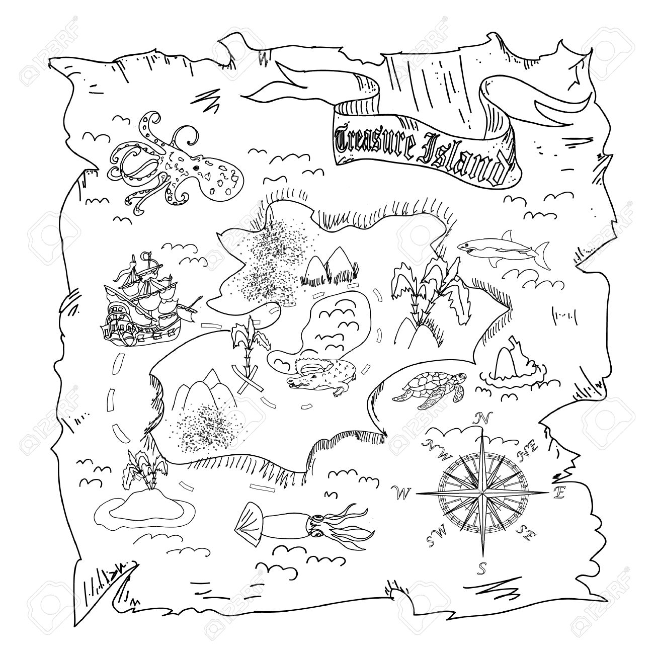 Colorear Mapa Niños Treasure Island Fotos, Retratos, Imágenes Y ...