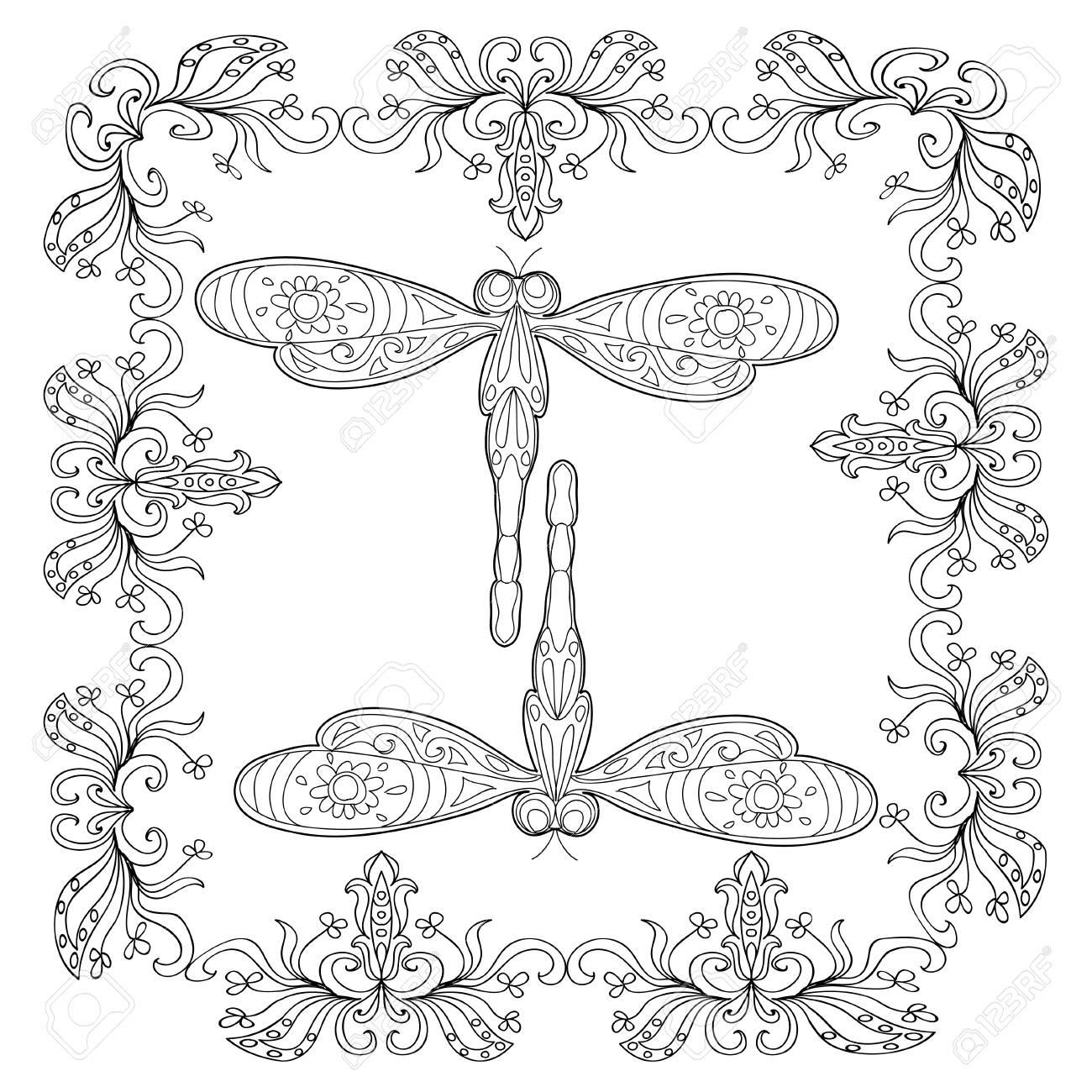 Dragonfly Abstract Mandala Coloring Page Royalty Free Cliparts ...