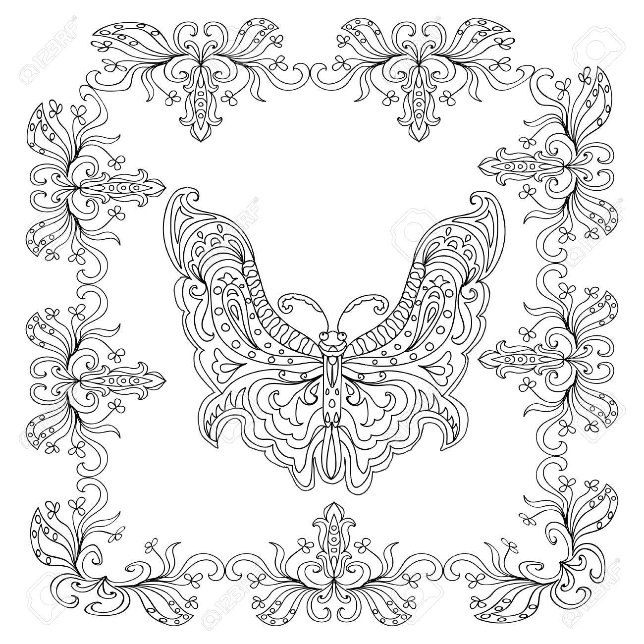 Butterfly Abstract Mandala Coloring Page Royalty Free Cliparts ...