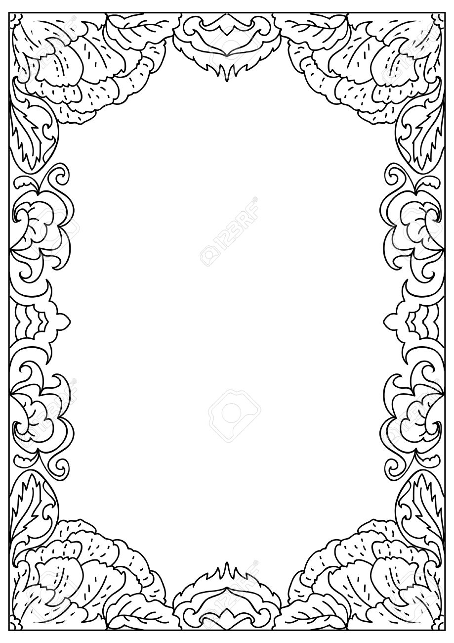 decorative abstract square a4 format coloring page frame isolated