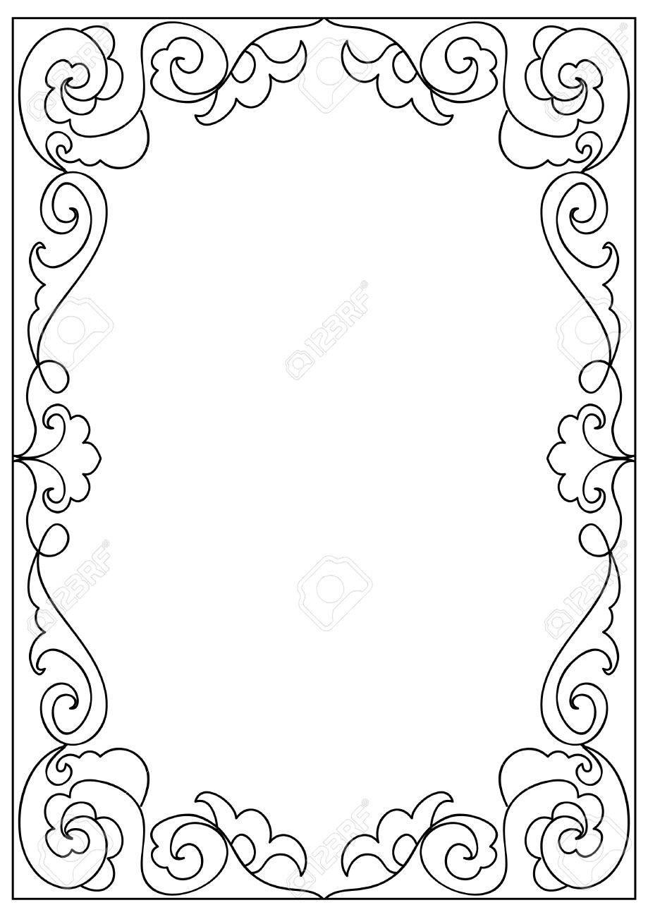 A4 Cuadrado Decorativo Marco De Página Para Colorear Formato Abstracto Aislado En Blanco