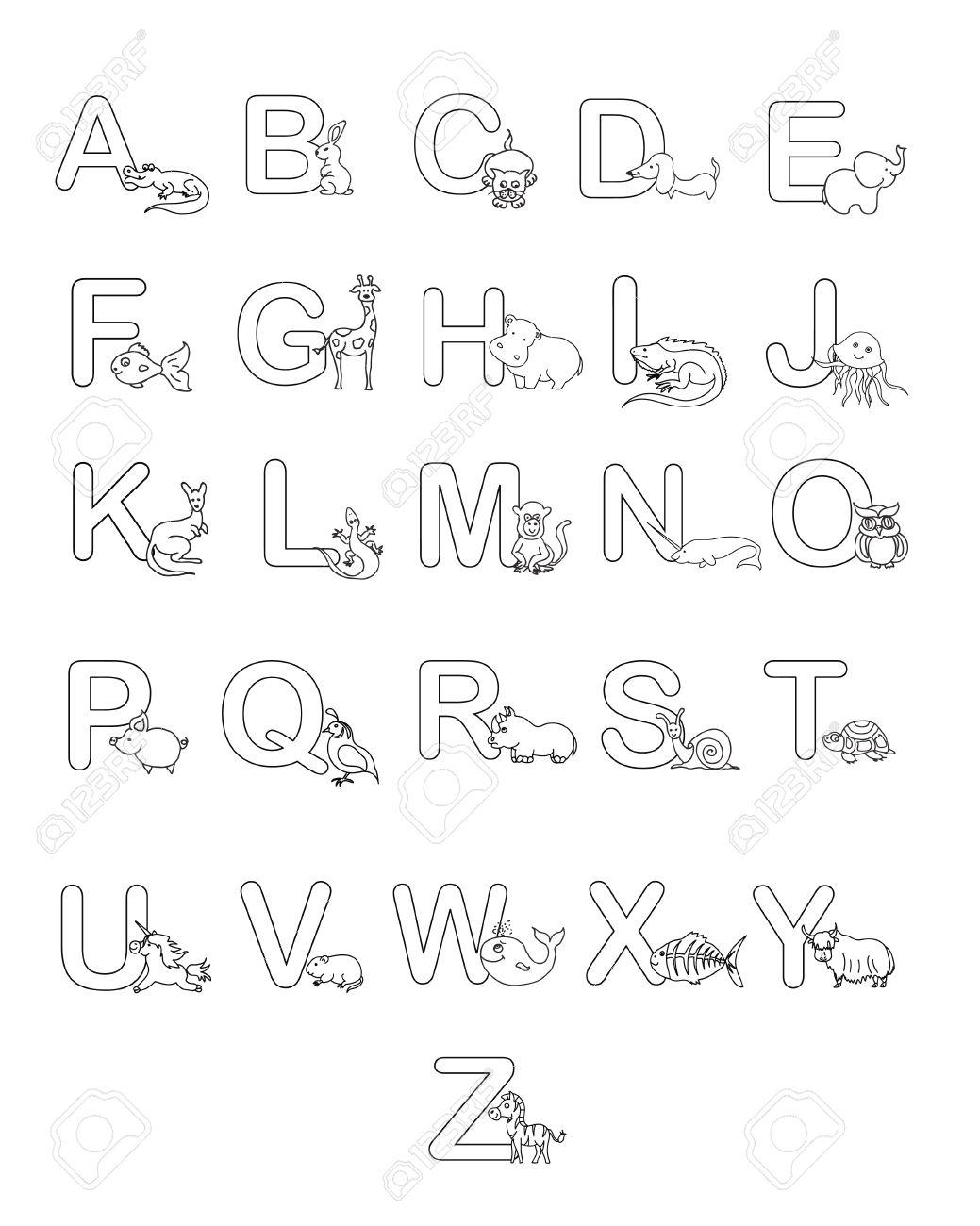 Alphabet Bébés Animaux Abc Coloriage Enfants Banque Dimages Et