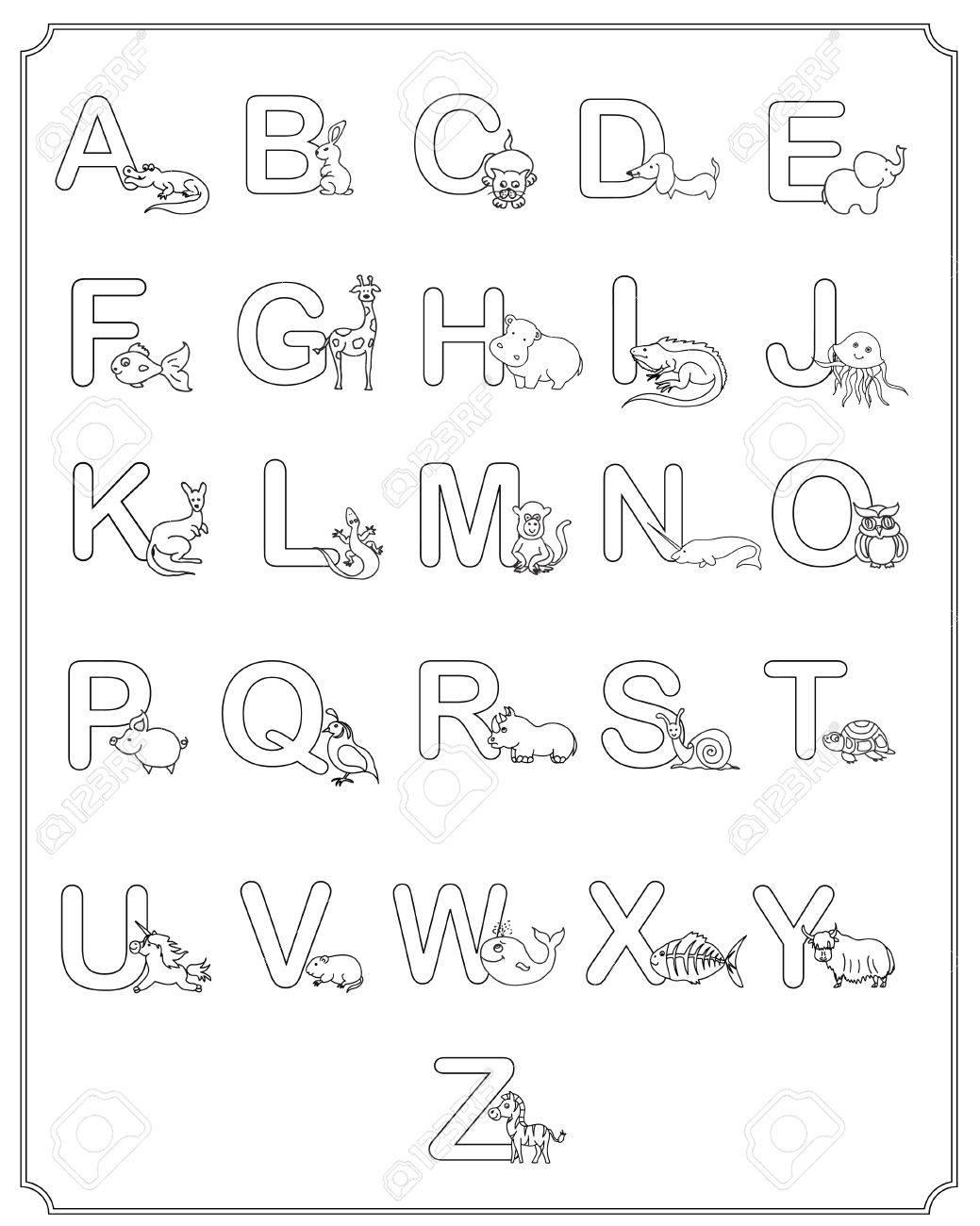 Alphabet Baby Animals ABC Children Coloring Page Stock Photo