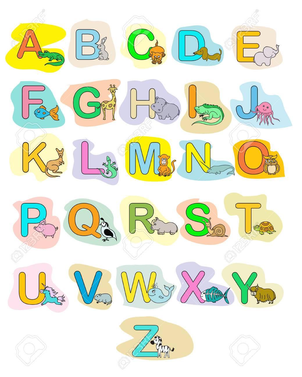 Animaux Alphabet De Bébé Abc Affiche De Couleur Pour Les Enfants